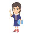 little caucasian schoolgirl pointing forefinger up vector image vector image