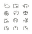 logistics - line icon set editable stroke vector image vector image