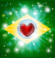 love brazil flag heart background vector image vector image
