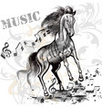 music background with running horse and notes vector image vector image