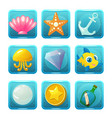 nautical square game icons vector image vector image