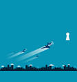 people flying into a keyhole vector image vector image