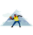 people in yellow vests in front of louvre pyramid vector image vector image