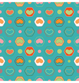 Retro seamless geometric pattern with hearts vector image vector image