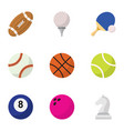 set of 9 editable sport flat icons includes vector image