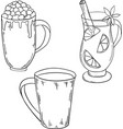 set of winter drinks cocoa and mulled wine vector image