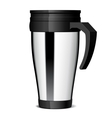 Shiny Metal travel thermo-cup vector image vector image