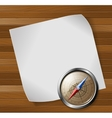 Steel detailed compass and white paper sheet over vector image vector image
