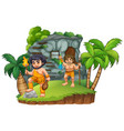 two cavemen at the rocky house vector image vector image