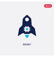 two color rocket icon from artificial vector image