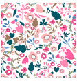 vintage pink and jungle flower seamless pattern vector image vector image
