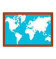 wall world map icon flat style vector image vector image