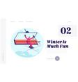 winter season ski resort open website landing page vector image vector image