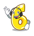 with headphone number six isolated on the mascot vector image vector image