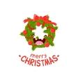 wreath cheerful christmas card vector image vector image