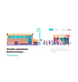 yellow bus station back to school pupils transport vector image vector image