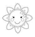 Black and white cartoon sun vector image