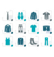 stylized man fashion and clothes icons vector image