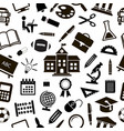 seamless school background with black icons vector image