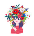 a spring girl in a wreath flowers for banner vector image vector image