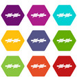 barbed wire icon set color hexahedron vector image vector image