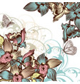 beautiful floral background with orchids vector image vector image