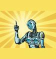 beautiful woman robot indicates vector image vector image