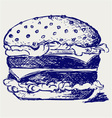 Big and tasty hamburger vector image vector image