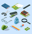 books paper documents in folders and other base vector image vector image