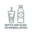 bottle and glass mineral water line icon vector image