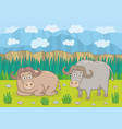 buffalos in nature vector image vector image