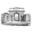 city gate development vintage engraving vector image vector image