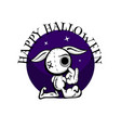 cute evil rabbit halloween woodoo sewing toy vector image vector image