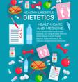 dietetics medicine with diet nutrition items vector image vector image