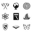 discovery of land icons set simple style vector image vector image