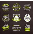 Easter labels and badges on chalkboard background vector image