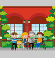 family members sitting on the bench vector image vector image
