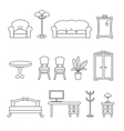 flat line icons for furniture icons vector image