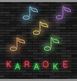 glowing light karaoke musical logo with notes vector image vector image