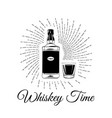 hand sketched whiskey bottle and glass vector image