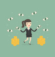 happy businesswoman throwing money up vector image