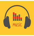 Headphones equalizer and red word Music Icon in vector image vector image