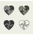 Hearts icons with puzzle vector image vector image