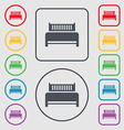 Hotel bed icon sign Symbols on the Round and vector image vector image