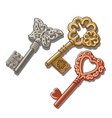 Keys with butterfly circle and heart ornament vector image vector image