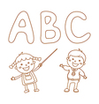 Kids Holding Giant Letters vector image vector image