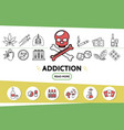 line bad habits icons set vector image