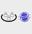 linear social ring icon and grunge family vector image vector image