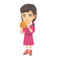 little caucasian girl eating a hamburger vector image