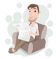 man reading on sofa vector image